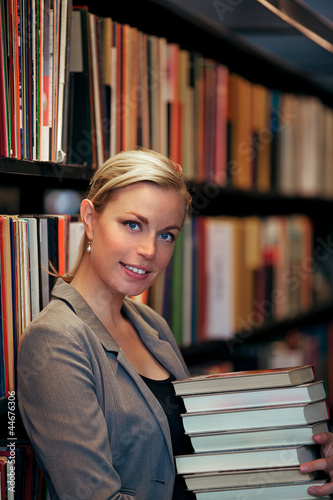 Smiling beautiful librarian