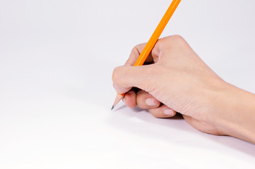 Man hand write with  pen