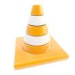 Glossy road cone colored orange and white