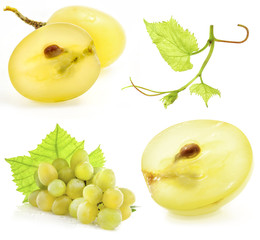 Collection of grape isolated on white background