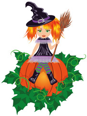 Girl witch with a broom. vector illustration