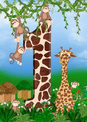 giraffe and monkeys
