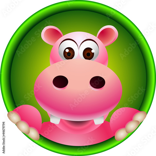 cute hippo head cartoon