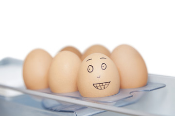 Anthropomorphic and plain brown eggs in carton against white background