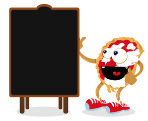 Funny Pizza Pointing a Blackboard