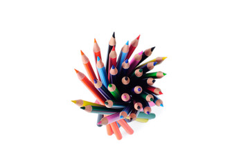 colorful pencils from above isolated