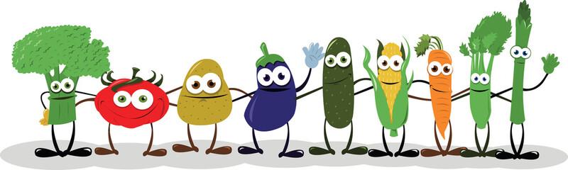 Funny Vegetables Saying Hello