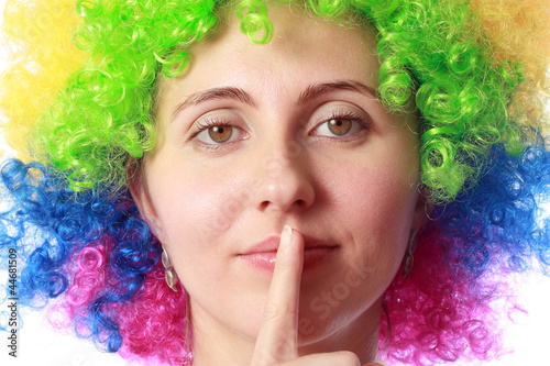 Woman with clown hair