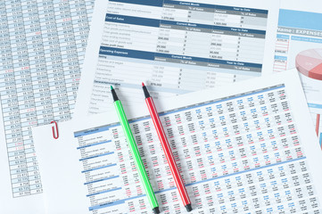 two color pens over financial reports