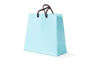 blue paper bag isolated on white