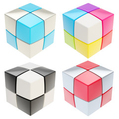 Cube made of colorful cubes isolated, set of four