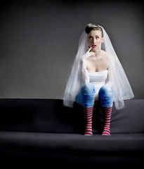 silly bride striped socks