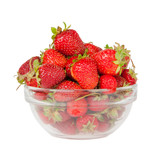 strawberries in the deep transparent plate on the white