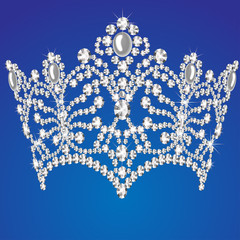 beautiful diadem feminine wedding on   blue background