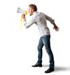 Boy screaming on the megaphone