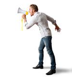 Boy screaming on the megaphone