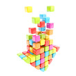 Segmented rainbow colored cube glossy colorful arrow