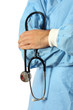Doctor in blue with stethoscope