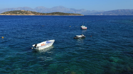 Boats and small islands, Agios Nikolaos, Crete
