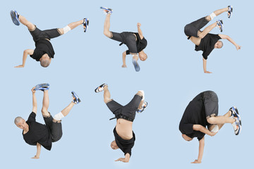 Multiple image of young man break dancing over light blue background