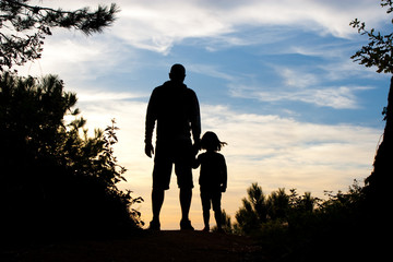 father and daughter silhouette