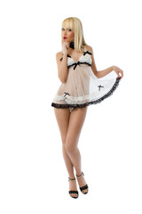 Beautiful woman wearing white lingerie