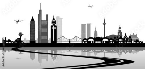 poster frankfurt main skyline stra e fototapeten aufkleber poster leinwandbilder. Black Bedroom Furniture Sets. Home Design Ideas
