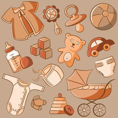 Doodle Baby Vintage Style Icon Set