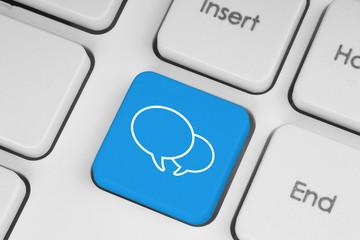 Social media keyboard button close-up