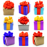Collage of presents on white background