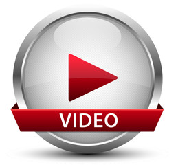 Video Play Button Silber Rot
