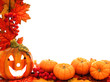 Halloween border with jack-o-lantern, pumkins, and fall leaves