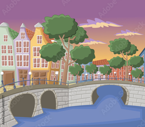Buildings in Amsterdam with canals, bridge and dutch houses