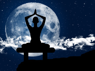 Illustration of a woman practicing yoga at moonlight