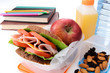 Back to school lunch, healthy sandwich fruit nuts books