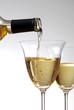 Pour wine into glass
