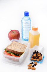 Well balanced packed lunch, healthy sandwich fresh fruit