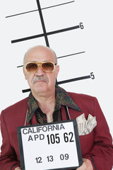 Mug shot of senior man wearing sunglasses and banknotes in pocket