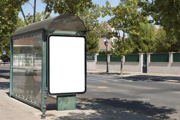 Para de autobus. Cartel blanco para publicidad