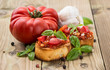 Fresh made Bruschetta with ingredients