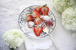 sugared strawberries with hydrangeas