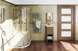 Bathroom with wooden accent