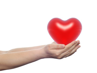 3D red heart held in hands by an adult male