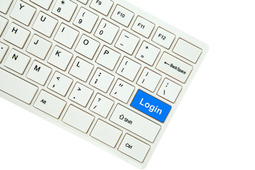 Wording Login on computer keyboard isolated on white background