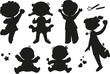 Six black silhouettes of happy boys girls and babies