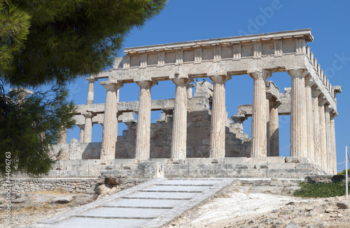 Classical ancient temple at Aegina island in Greece.