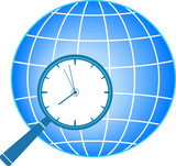 blue icon with magnifier, clock and planet silhouette