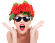 young woman with wreath being excited