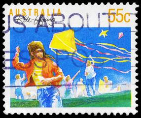 AUSTRALIA - CIRCA 1989 Kiteflying