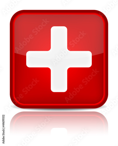 First aid medical button sign with reflection isolated on white